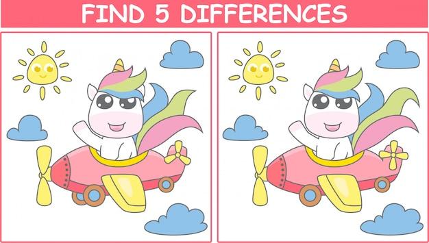 Znajdź 5 różnic. ilustracja jednorożca