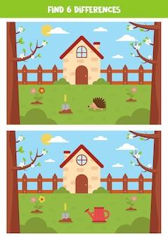 Znajdź 6 różnic między wiosennymi krajobrazami. ładny ogród.