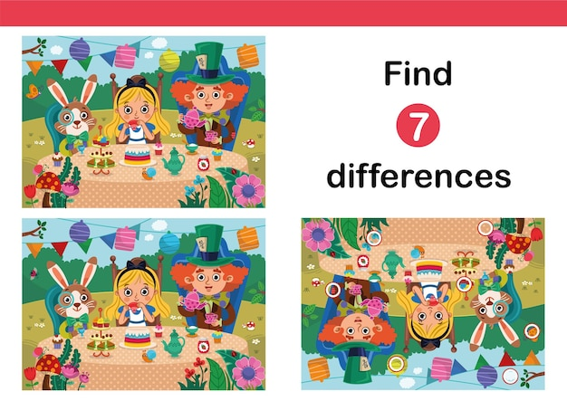 Znajdź 7 różnic gra edukacyjna dla dzieci gra logiczna dla dzieci w stylu alicji w krainie czarów