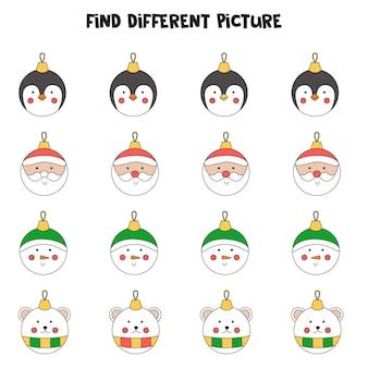 Znajdź bombkę, która różni się od innych. arkusz dla dzieci.