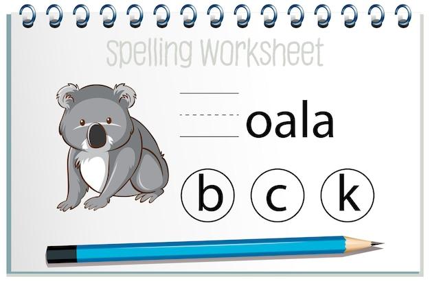Znajdź brakującą literę z koalą