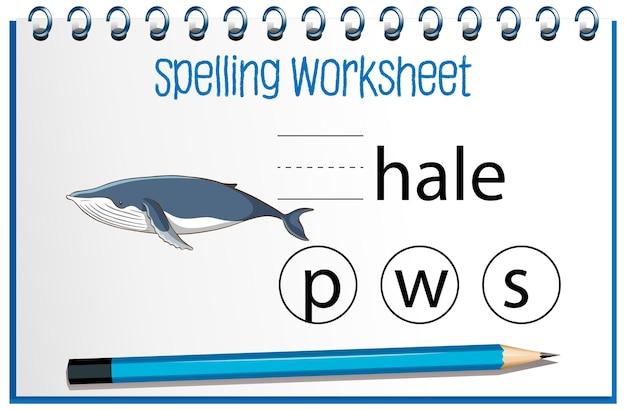 Znajdź brakującą literę z wielorybem