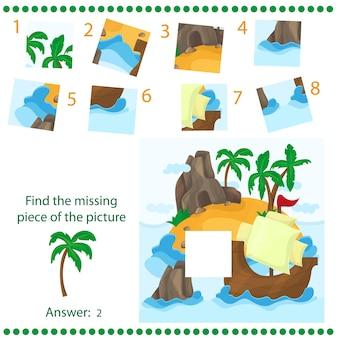 Znajdź brakujący element - gra logiczna dla dzieci - z tropikalną wyspą i statkiem