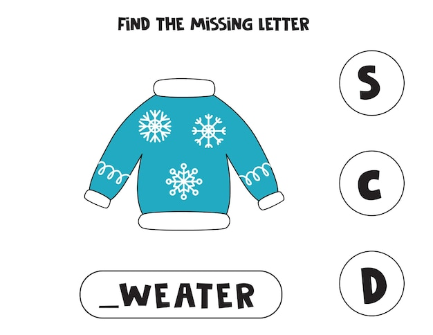 Znajdź brakujący list z kreskówkowym swetrem. arkusz pisowni.