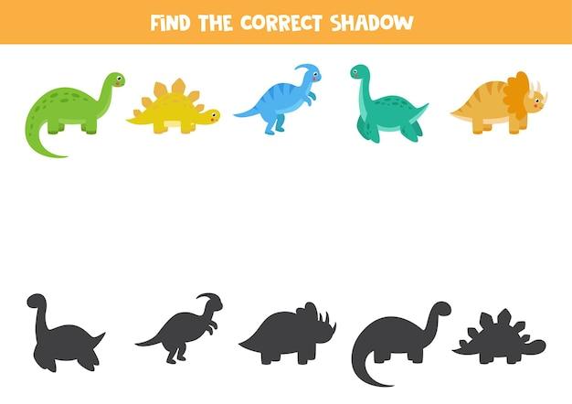 Znajdź cienie każdego dinozaura. edukacyjna gra logiczna dla dzieci.