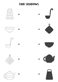 Znajdź cienie narzędzi kuchennych. arkusz czarno-biały. edukacyjna gra logiczna dla dzieci.