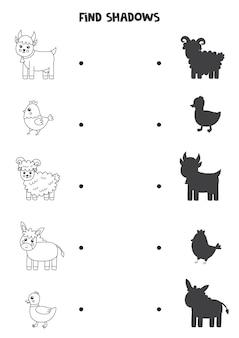 Znajdź cienie uroczych zwierząt gospodarskich. arkusz czarno-biały. edukacyjna gra logiczna dla dzieci.