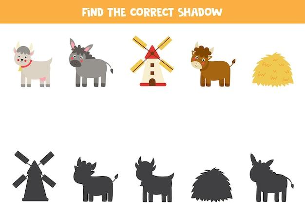 Znajdź cienie zwierząt gospodarskich, stogę siana i młyn. edukacyjna gra logiczna dla dzieci.