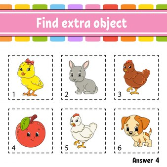 Znajdź dodatkowy obiekt. arkusz zajęć edukacyjnych dla dzieci i niemowląt. gra dla dzieci.