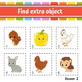 Znajdź dodatkowy obiekt. arkusz zajęć edukacyjnych dla dzieci i niemowląt.