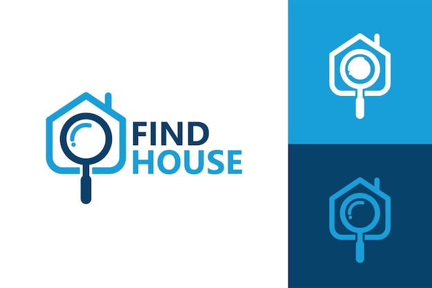 Znajdź dom, lupę i szablon logo domu premium wektor
