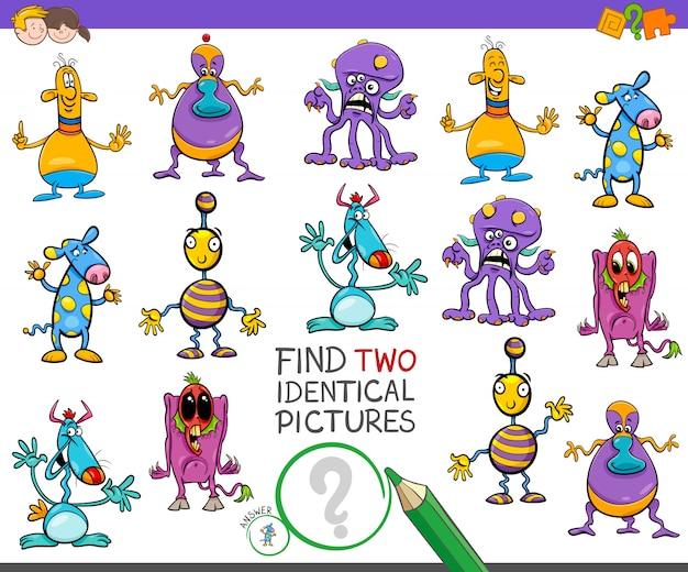 Znajdź dwa identyczne zadania dla dzieci