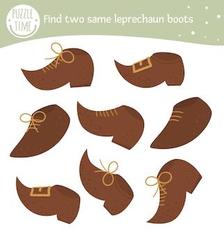 Znajdź dwa takie same buty krasnoludków. dzień świętego patryka dla dzieci w wieku przedszkolnym z butami elfów. zabawna wiosenna gra dla dzieci. arkusz z quizem logicznym.