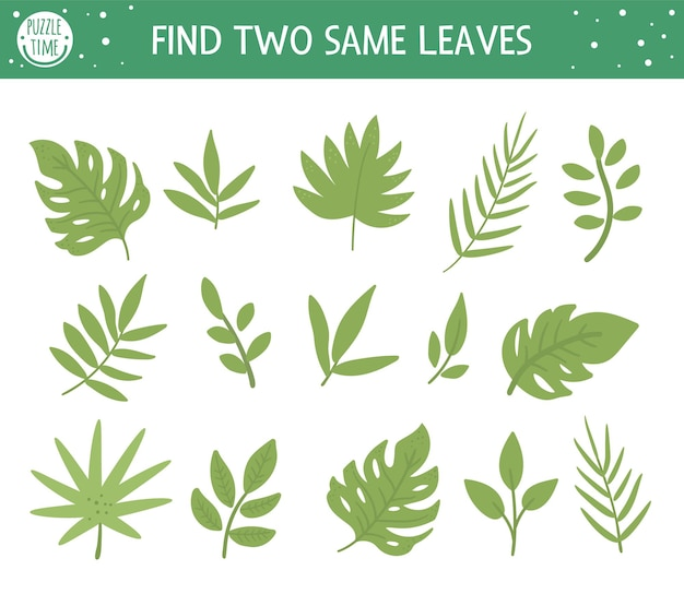 Znajdź dwa takie same liście. tropikalna zabawa dla dzieci w wieku przedszkolnym z uroczymi tropikalnymi roślinami. zabawne puzzle dżungli dla dzieci. arkusz z quizem logicznym.