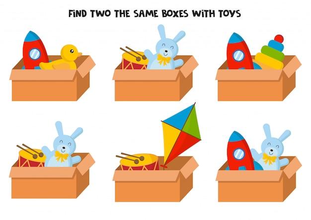 Znajdź dwa takie same pudełka z kolorowymi zabawkami.