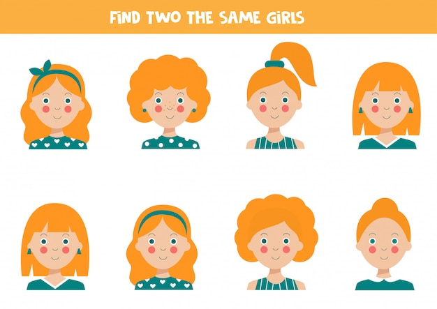 Znajdź dwie identyczne dziewczyny arkusz edukacyjny dla dzieci.
