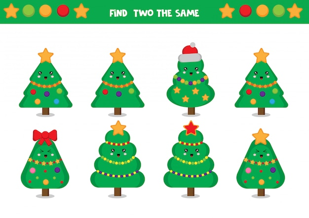 Znajdź dwie takie same choinki. arkusz edukacyjny dla dzieci.