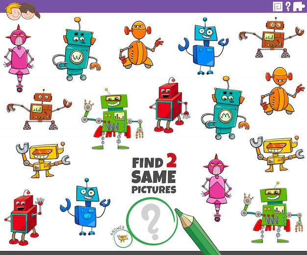 Znajdź dwie takie same gry z postaciami robotów dla dzieci