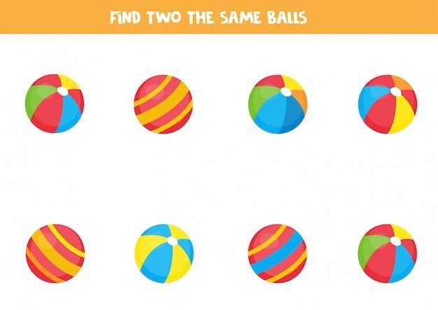 Znajdź dwie takie same kulki. logiczna gra dla dzieci.