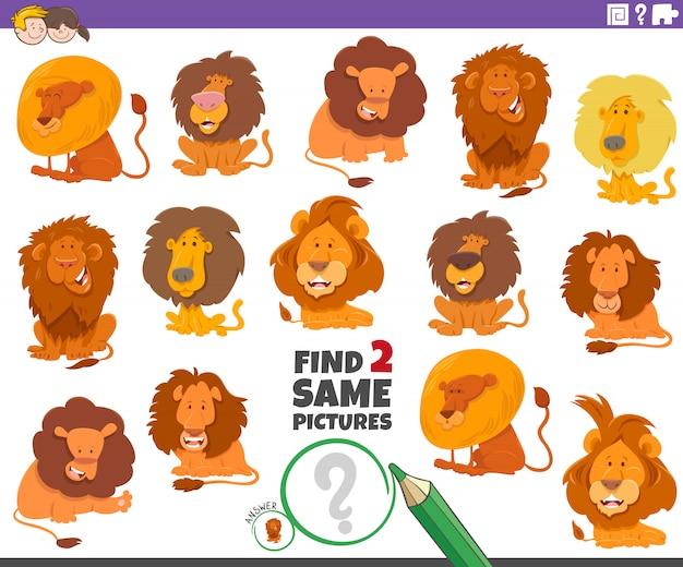 Znajdź dwie takie same lwy grę edukacyjną dla dzieci
