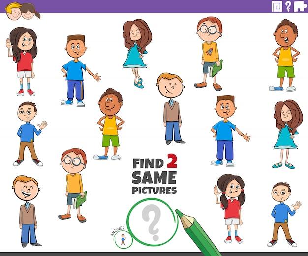 Znajdź dwie takie same postacie dla dzieci