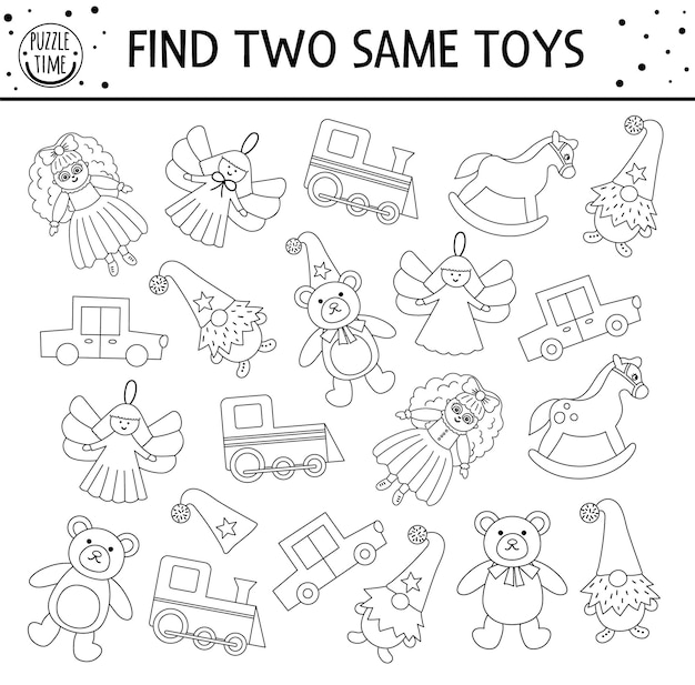 Znajdź dwie takie same zabawki. czarno-białe świąteczne dopasowanie aktywności dla dzieci. zabawny arkusz edukacyjny z zimowym kwizem logicznym dla dzieci. prosta gra lub kolorowanka do wydrukowania w nowy rok