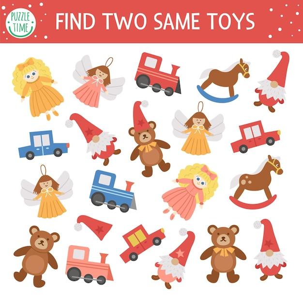Znajdź dwie takie same zabawki świąteczne dopasowanie aktywności dla dzieci nowy rok gry