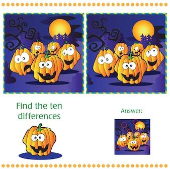 Znajdź dziesięć różnic między dwoma obrazkami z dyniami
