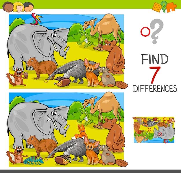 Znajdź grę różnicową z grupą znaków zwierzęcych