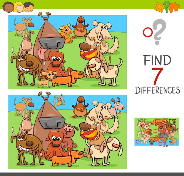 Znajdź grę różnicową z psami postaciami zwierząt