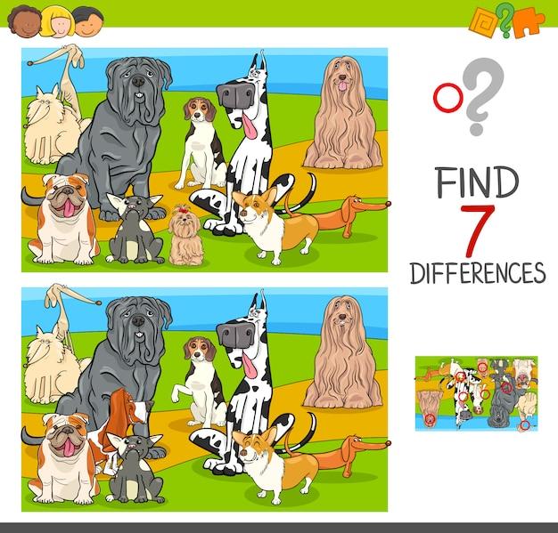 Znajdź grę różnicową ze znakami psa
