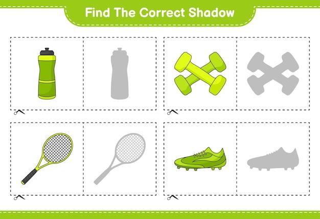 Znajdź i dopasuj odpowiedni cień butelki z wodą rakieta tenisowa buty piłkarskie i hantle