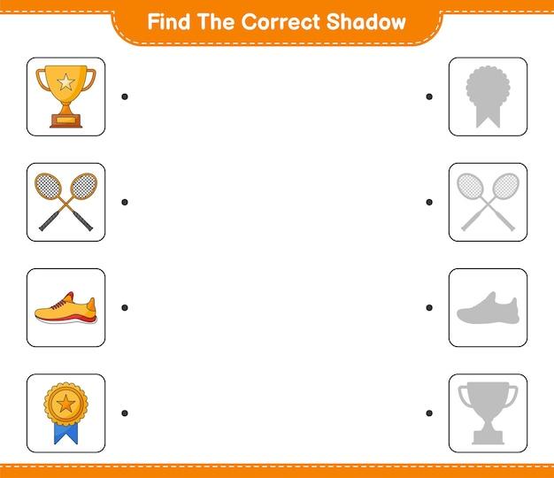 Znajdź I Dopasuj Odpowiedni Cień Butów Do Biegania Trophy I Rakiet Do Badmintona Premium Wektorów