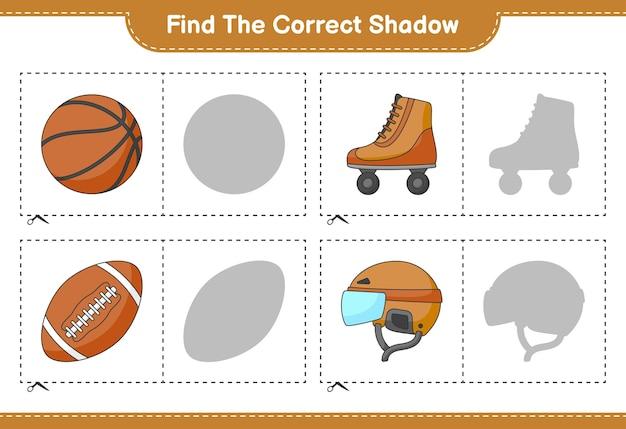Znajdź i dopasuj odpowiedni cień kasku hokejowego wrotki koszykówka i piłka nożna