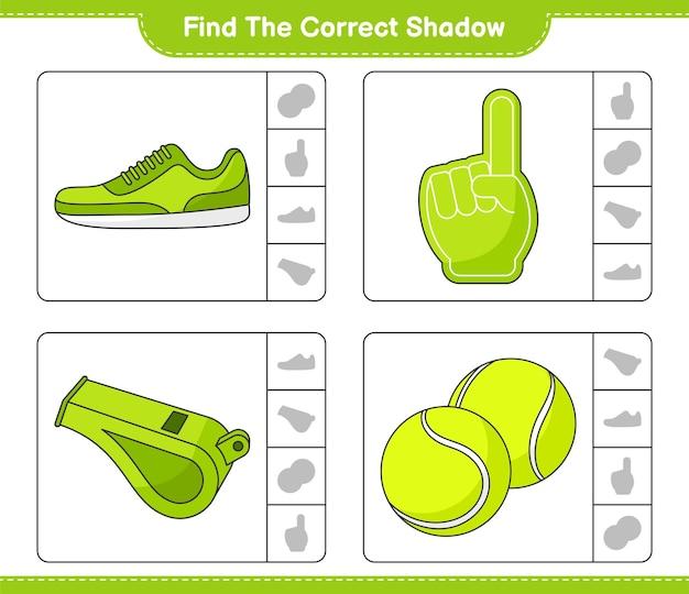 Znajdź i dopasuj odpowiedni cień piłki tenisowej i tenisówki z piankowym gwizdkiem