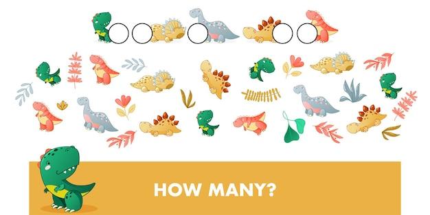 Znajdź i policz gra edukacyjna dla dzieci z ilustracją kreskówki dinozaura słodkiego dinozaura
