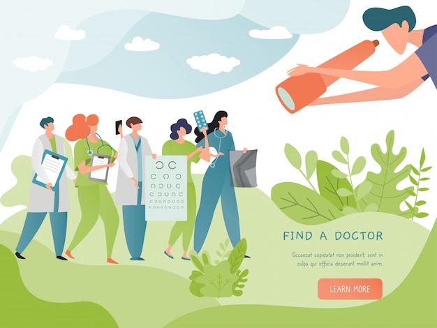 Znajdź ilustracja transparent lekarz. wyszukaj usługę online lekarza. koncepcja medycyny i opieki zdrowotnej. doktorski żeński stetoskop