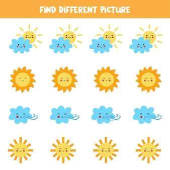 Znajdź inną chmurę lub słońce w każdym rzędzie. gra logiczna dla dzieci w wieku przedszkolnym.