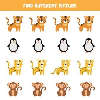 Znajdź inne zwierzę w każdym rzędzie. kreskówka małpa, tygrys, lampart, pingwin.