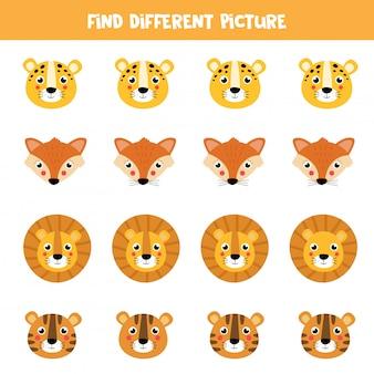 Znajdź inny obraz w każdym rzędzie. twarze zwierząt kreskówka