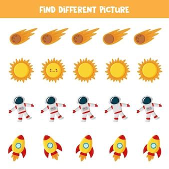 Znajdź inny obraz zdjęć kosmosu. edukacyjna gra logiczna dla dzieci.