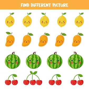 Znajdź inny obrazek z owocami kawaii w każdym rzędzie. edukacyjna gra logiczna dla dzieci. arkusz roboczy do wydrukowania dla przedszkolaków.