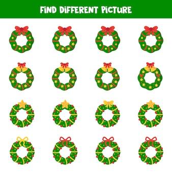 Znajdź inny wieniec bożonarodzeniowy w każdej grupie. edukacyjna gra logiczna dla dzieci.