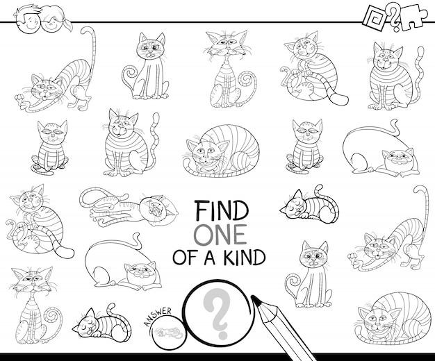 Znajdź jedyną w swoim rodzaju grę z kotami kolorowanki