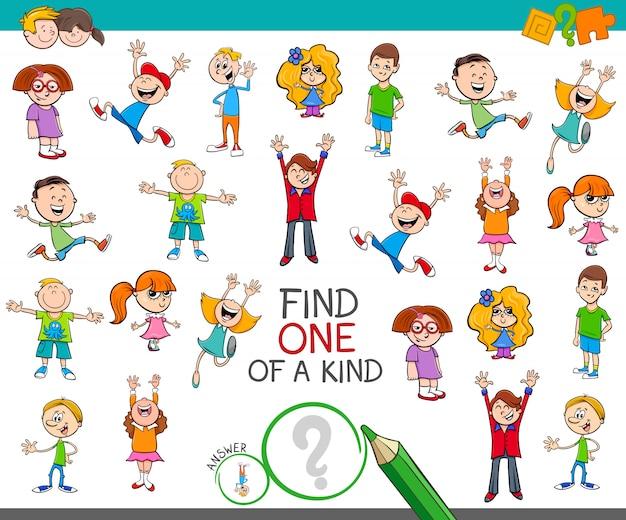 Znajdź jedyną w swoim rodzaju grę ze szczęśliwymi dziećmi