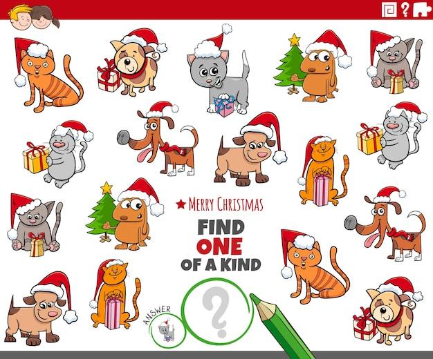 Znajdź jedyne w swoim rodzaju zadanie edukacyjne z obrazkami ze zwierzętami w okresie świątecznym