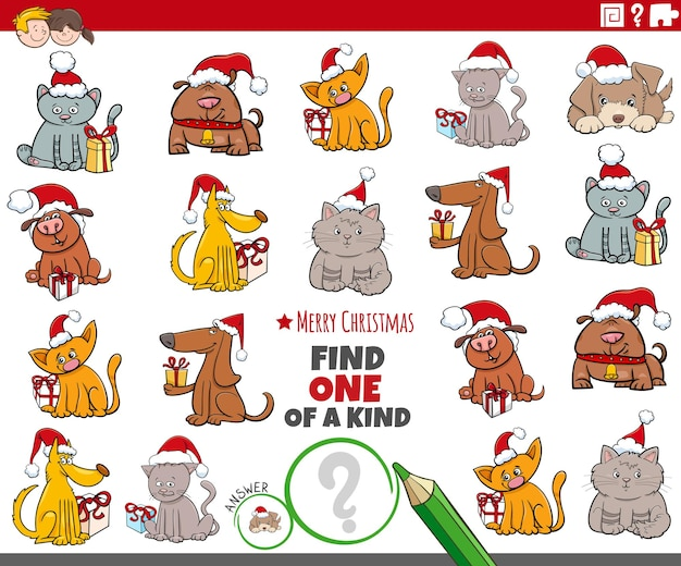 Znajdź jedyne w swoim rodzaju zdjęcie edukacyjne z postaciami zwierzaków w okresie świątecznym