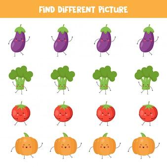 Znajdź kawaii warzywne, które różnią się od innych.