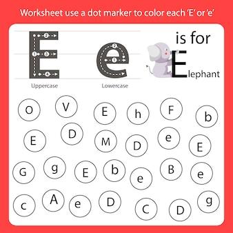 Znajdź literę arkusz roboczy używa znacznika kropki do pokolorowania każdego e