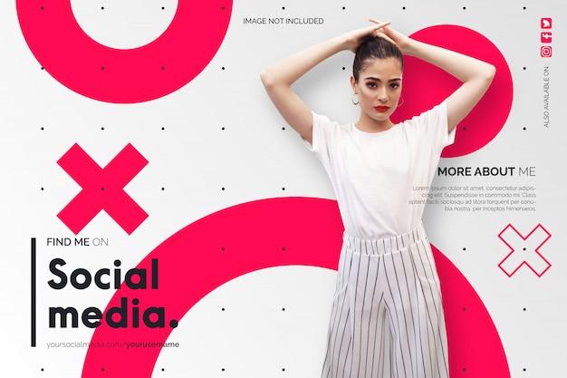 Znajdź mnie na tle mediów społecznościowych w kolorze białym i czerwonym